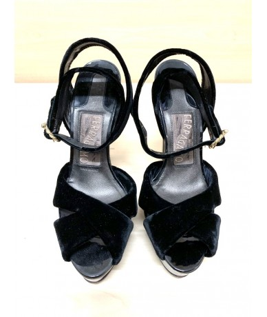 SALVATORE FERRAGAMO Shoes velvet sandals tg. 6 black color