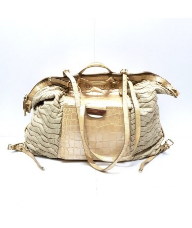 VERSACE Duffel bag in genuine ivory leather