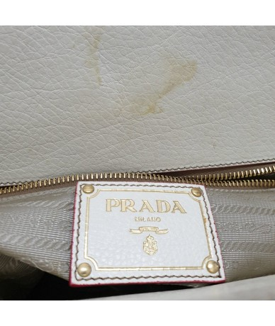 PRADA Handbag in canvas and beige leather
