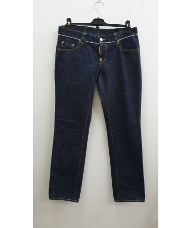 DSUQARED2 woman jeans straight size 46 dark blue color