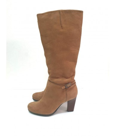 CLARKS woman boots in leather size 5 UK (IT 38) brown color