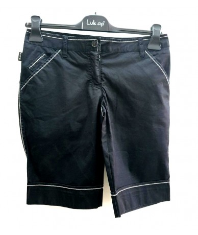 MOSCHINO JEANS shorts neri tg 39 con inserti bianchi