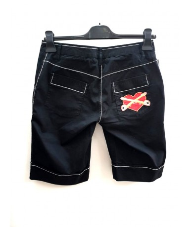 MOSCHINO JEANS black shorts size 39 with white inserts