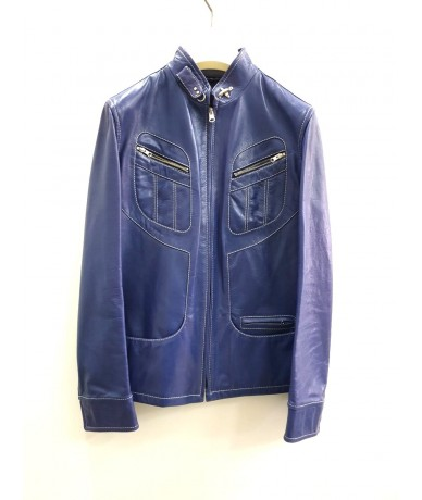 FAY navy leather jacket for women size M