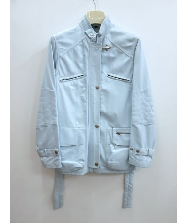 FAY long light blue leather jacket for women size M