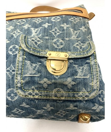 LOUIS VUITTON Baggy Denim shoulder bag in fabric and gray leather