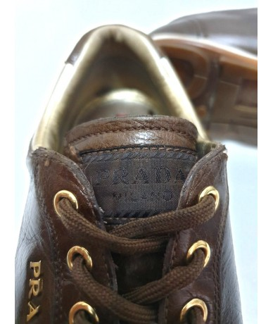 PRADA Men's sneakers shoes in brown leather tg. 40
