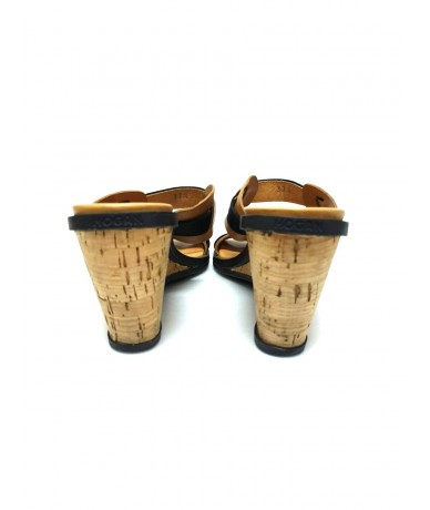 HOGAN wedge sandals in leather and ocher yellow cork
