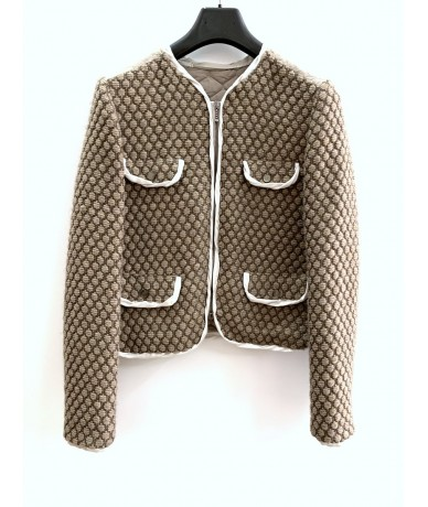MAURO GRIFONI jacket in acrylic and wool blend size 44 beige