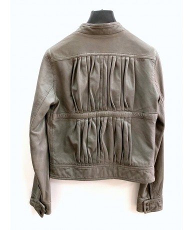 MAURO GRIFONI women's leather jacket size 42 medium gray color