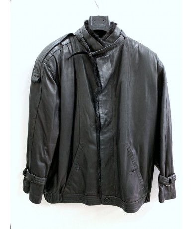 Beltrami Padded leather jacket in real fur tg. 50