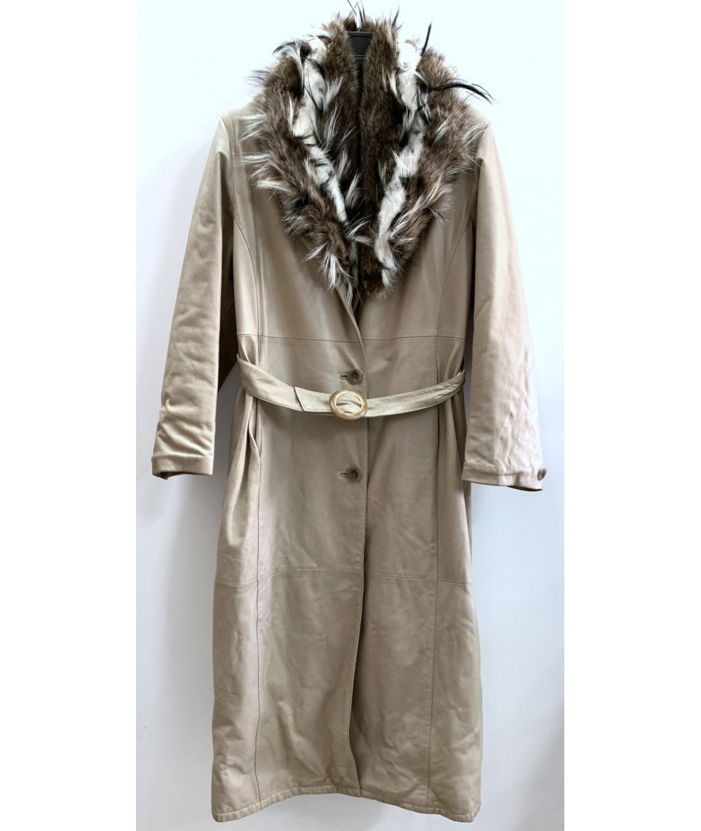 Vittorio Forti Long coat in beige leather tg. 42