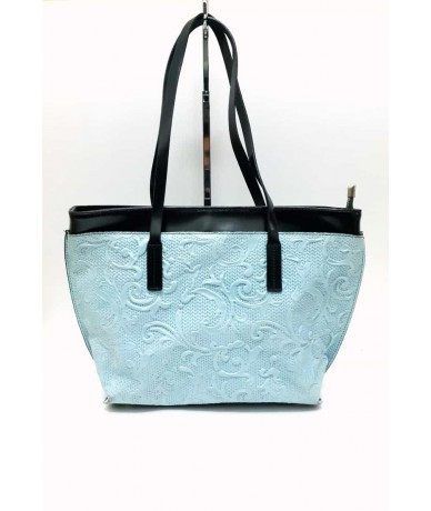 MADE IN ITALY women's handmade shoulder bag in light blue leather
