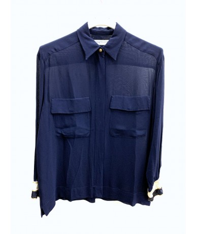 Ferretti Studio Silk shirt size 44 blue color