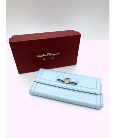 Salvatore Ferragamo Ladies wallet in light blue leather