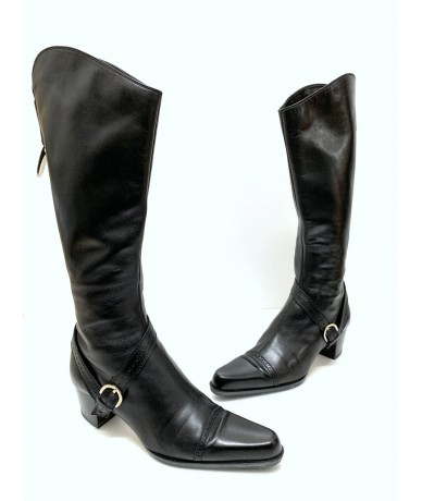 Sergio Rossi Woman size 37.5 boots in black leather