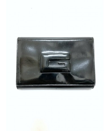 Gucci vintage woman wallet in shiny black leather