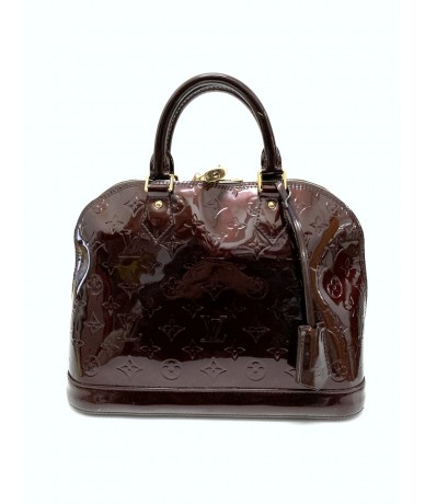 Louis Vuitton Alma borsa in pelle verniciata bordeaux