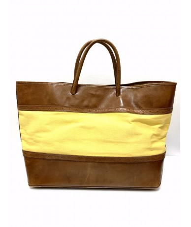 Aldo Tramontano shopping bag in canvas and leather