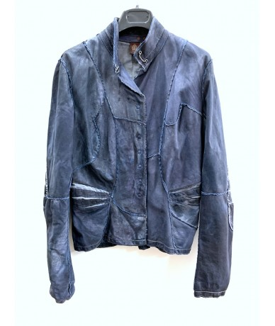 Dondup Gradient blue leather jacket size 2 (XS)