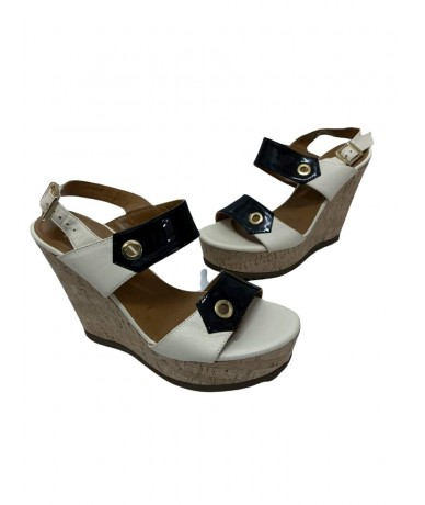Baldinini beige and black wedge sandals size. 38