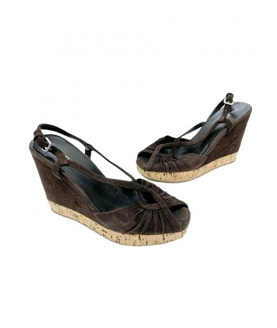 Prada brown suede hoe sandals size 38