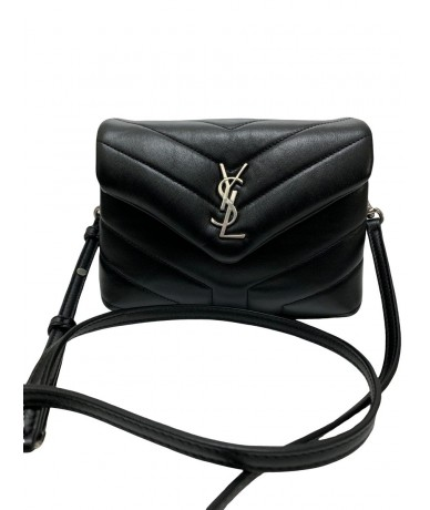 Saint Laurent Toy LouLou in black matellassé leather