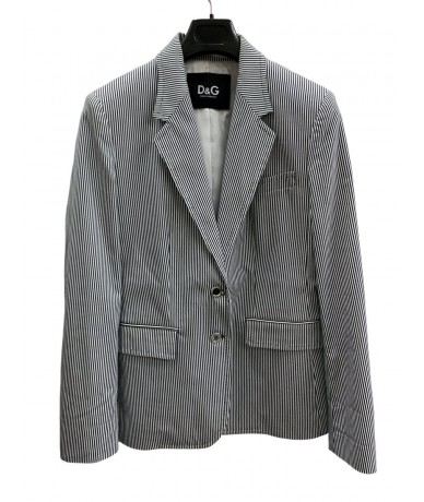 D&G Dolce & Gabbana white and gray striped jacket size 46