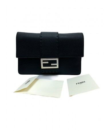 Fendi Selleria handbag clutch bag in black leather