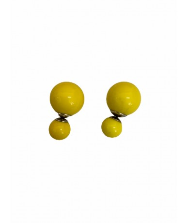 Yellow ball earrings with silver core
