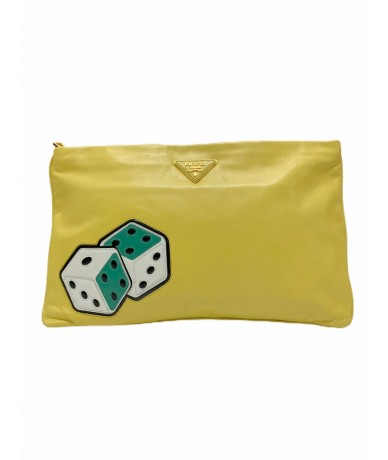Prada pineapple yellow leather clutch bag
