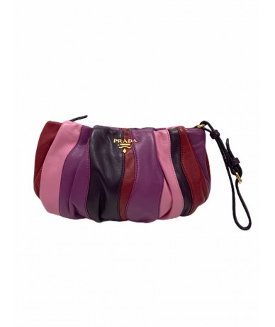 Prada multicolour leather clutch bag