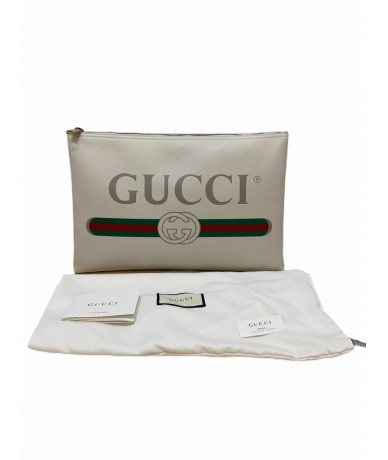 Gucci Coco Capitàn Unisex clutch bag in white leather with logo