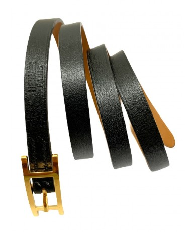 Hermes Hapi 3 bracelet in black leather
