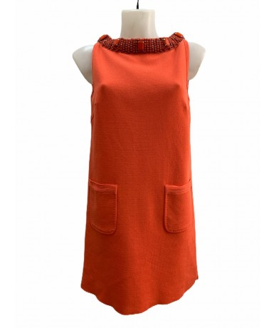 Les Copains coral red cotton dress size 42