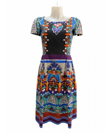 Alberta Ferretti multicolored cotton dress size 42