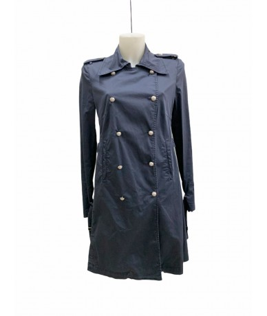 Dondup women's cotton trench coat tg. 46 blue color
