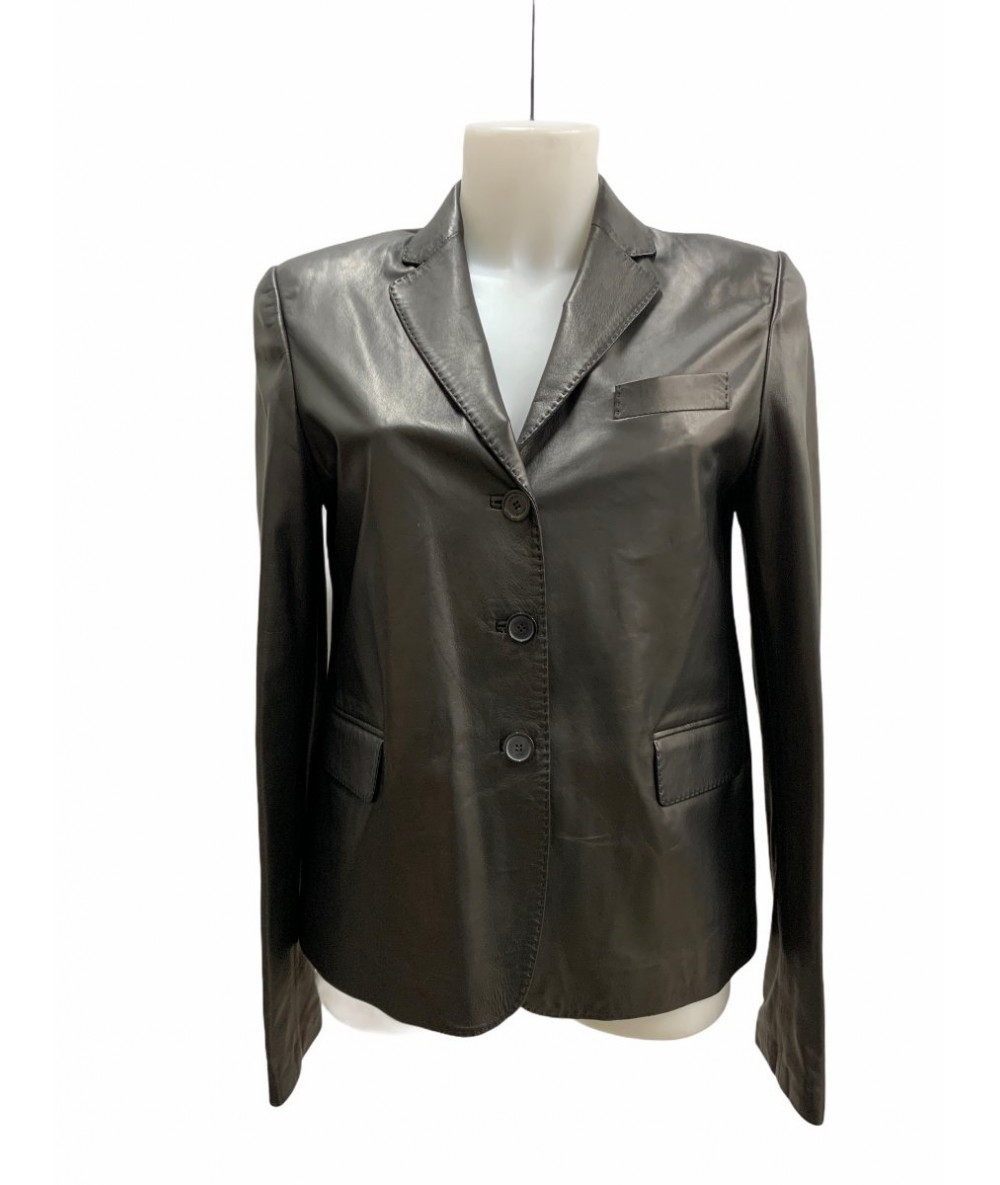 Gucci nappa leather jacket size 44 black color