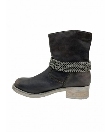 Cult ankle boots in gray leather