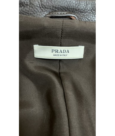 Prada leather jacket size 44 brown color