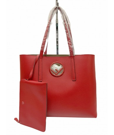 Fendi 8BH348 shopping bag in red leather