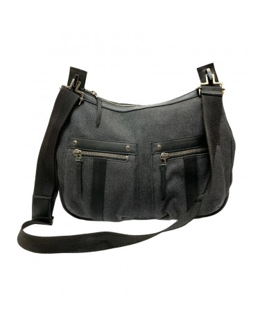 Gucci shoulder bag in denim and gray-black leather