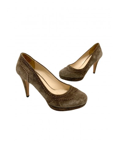 Prada shoes decolletè in suede size 36 col. Brown