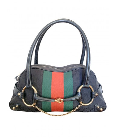 Gucci horsebit boston bag with fabric and leather web band