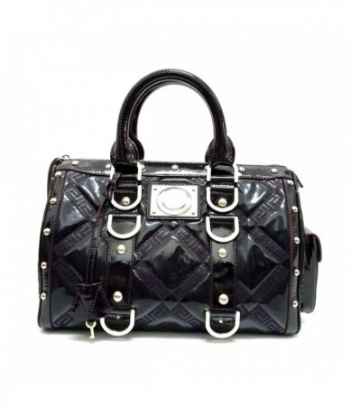 VERSACE Satchel bag in patent leather and leather
