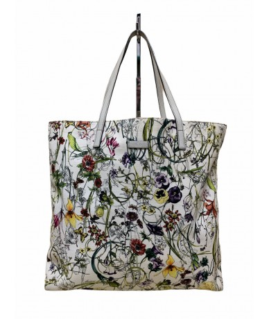Gucci flora shopping bag in hemp and leather handles
