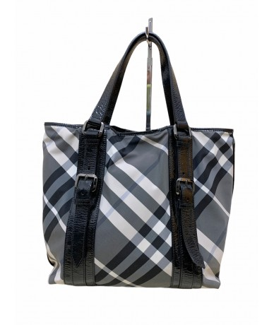 Burberry Shopping bag in fabric and leather