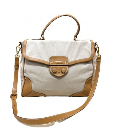 PRADA Handbag with shoulder strap in canvas and leather