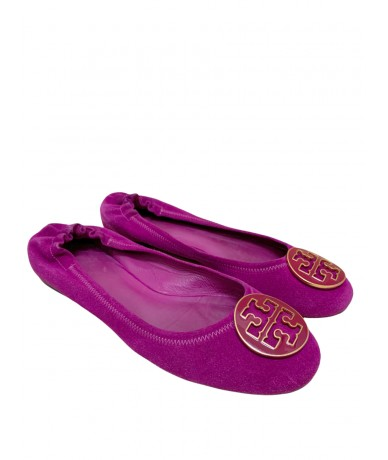 Tory Burch ballerina shoes in fuchsia suede mis. 8.5 US
