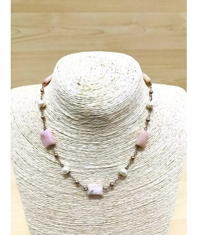 NECKLACE with pink stones and pearls